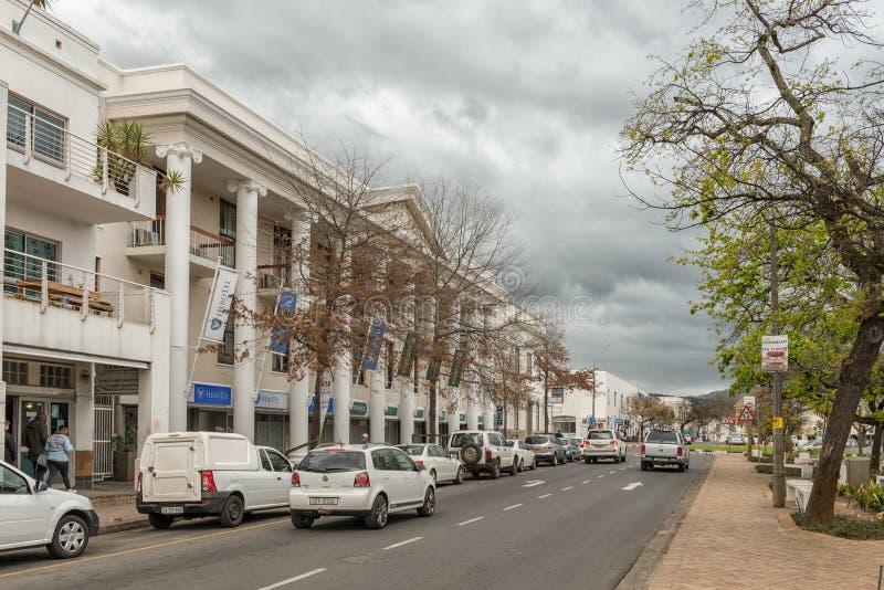 Straßenbild in der Vogel-Straße in Stellenbosch stockbild