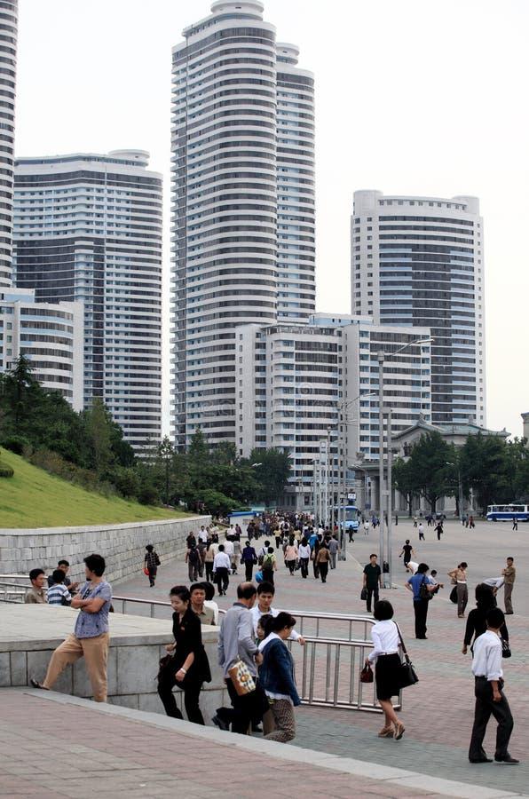 Straßenbild in Pjöngjang. lizenzfreie stockfotos