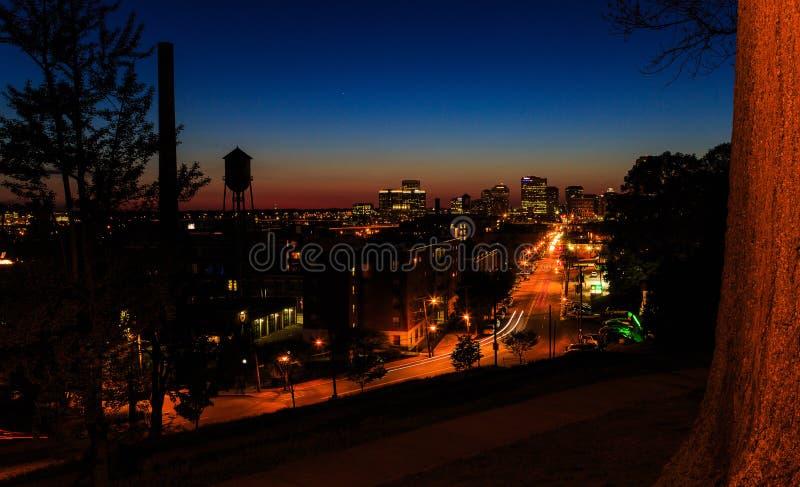 Straßenbilder von Libby Hill Richmond Va am Abend stockfoto