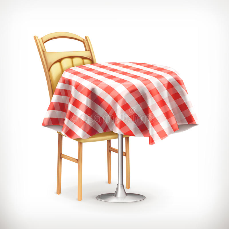 Straßencafé mit Tabelle und Stuhl lizenzfreie abbildung