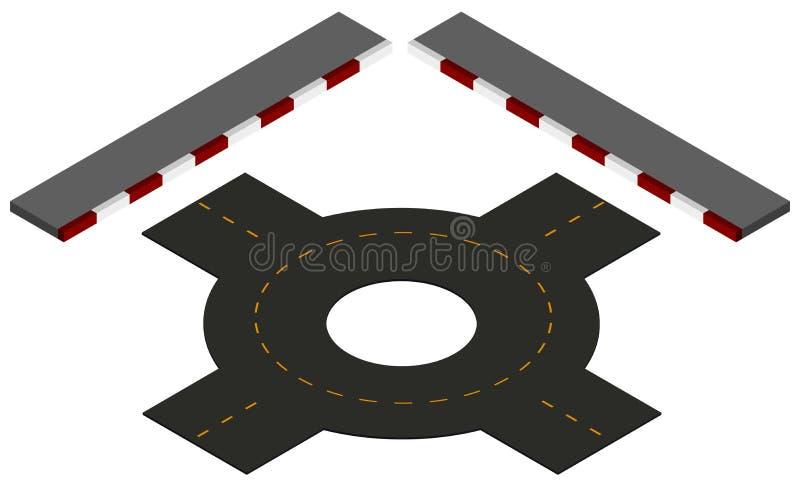 Straßendesign mit Karussell und Pflasterungen lizenzfreie abbildung