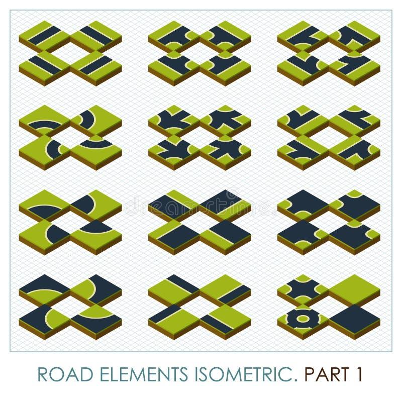 Straßenelemente isometrisch lizenzfreie abbildung