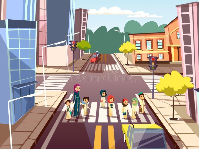 Straßenfußgänger vector Karikaturillustration der arabischen moslemischen Mutter mit den Kindern, die Straße auf Ampel kreuzen vektor abbildung
