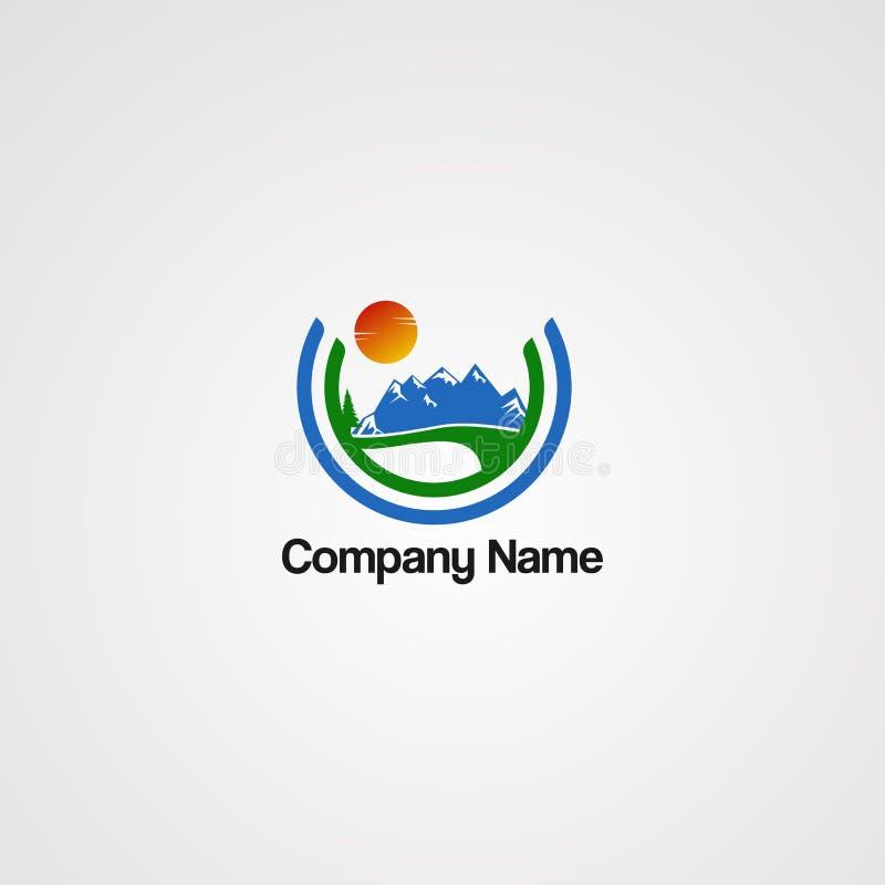 Straßengebirgslogovektor mit Sonnen- und Kreiskonzept, Element, Schablone und Ikone, für Firma stock abbildung