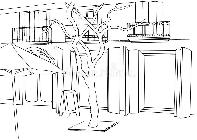Straßenillustration Stadtskizze Europäische Straße mit Gebäuden, Baum vektor abbildung
