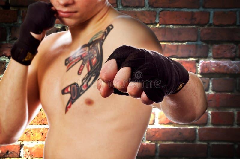Straßenkämpfer (Fokus auf Faust) lizenzfreie stockfotos