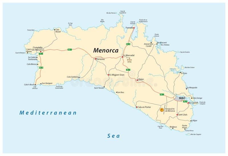 Straßenkarte der spanischen Baleareninsel von Menorca vektor abbildung