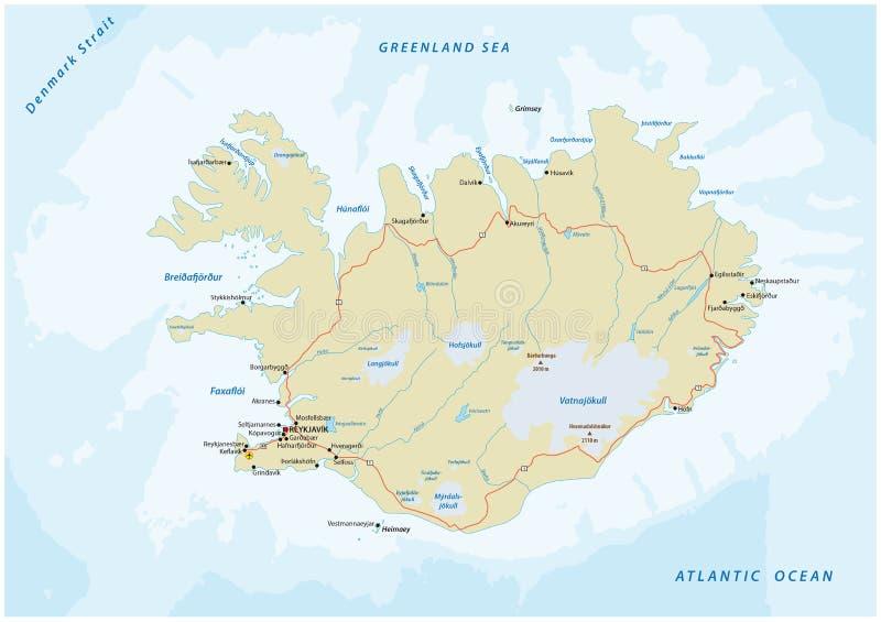 Straßenkarte Island stock abbildung