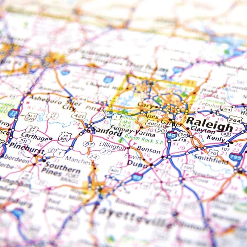 Straßenkarte von Raleigh North Carolina stockfotografie