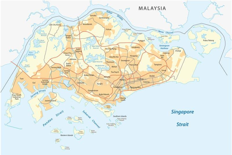 Straßenkarte von Singapur lizenzfreie abbildung