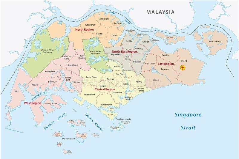 Straßenkarte von Singapur vektor abbildung