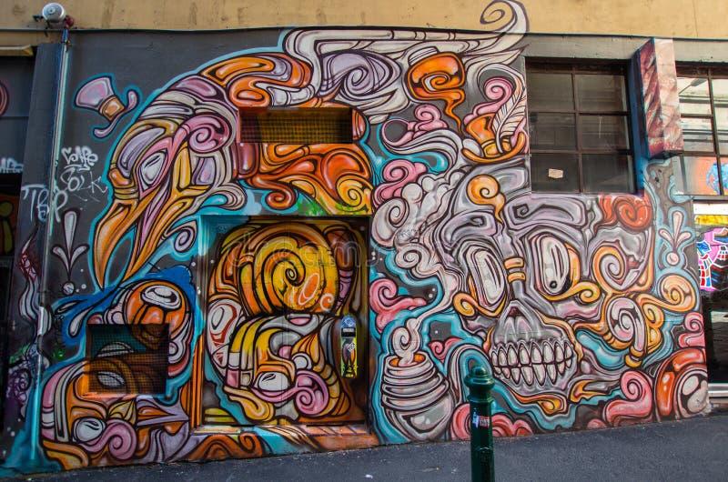 Straßenkunst im Hosier Lane Melbourne stockfotografie