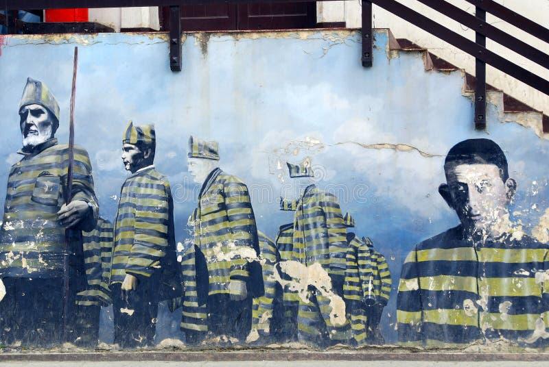 Straßenkunst im Stadtzentrum gelegenes Ushuaia lizenzfreie stockfotos