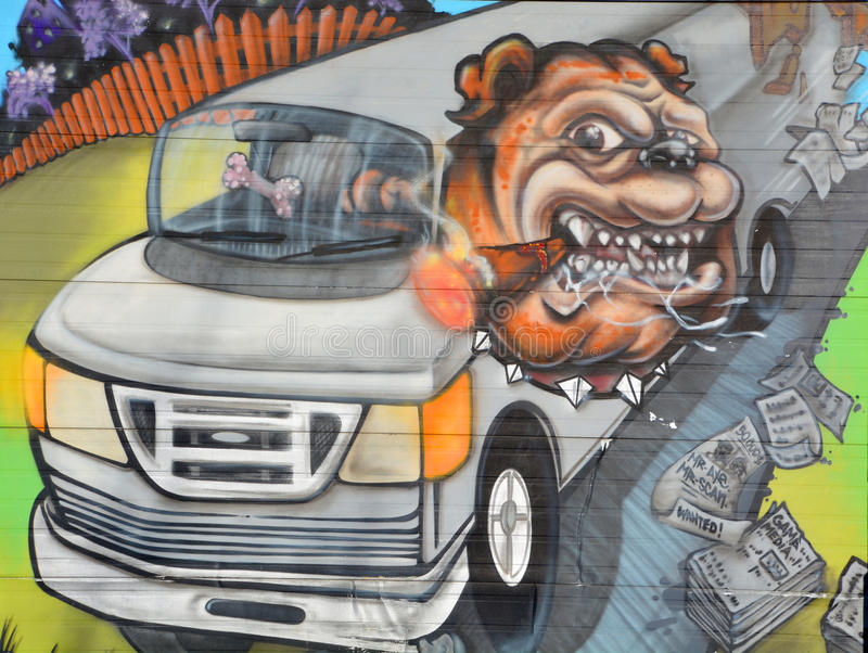 Straßenkunst Montreal-Bulldogge stockbild