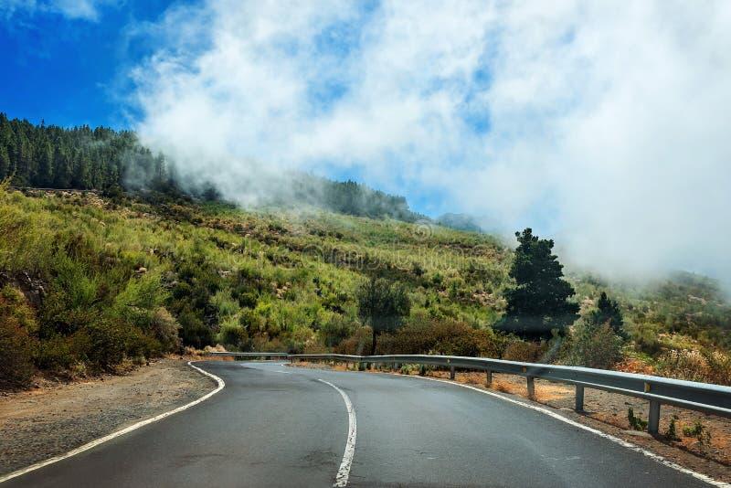 Straßenlandschaft zum Vulkan in tTTeide Nationalpark - Teneriffa, Kanarische Insel stockfotos