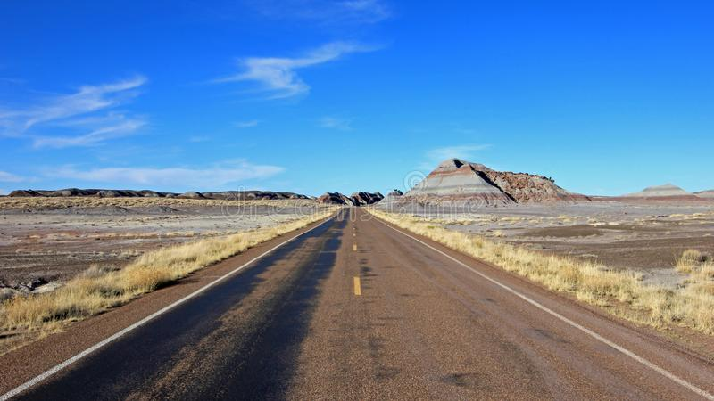 Straßenlauf durch Ödländer gestalten in versteinertem Forest National Park, USA landschaftlich stockbild