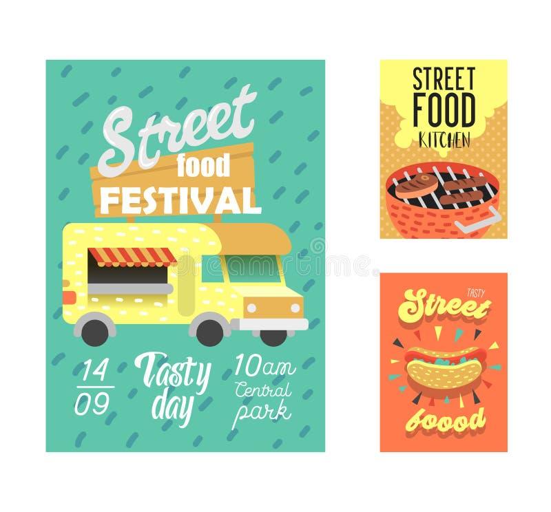 Straßenlebensmittel-Festivalplakat Fastfood-Ereignis-Einladung im Freien, Plakat, Broschüre, Fahnen-Schablone mit Van und BBQ vektor abbildung