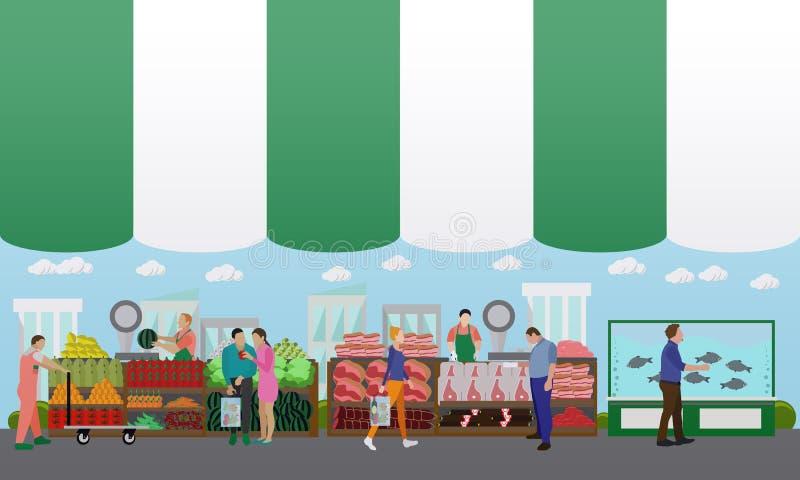 Straßenlebensmittelfestivalkonzept-Vektorfahne Leuteverkauf von den Ställen vektor abbildung