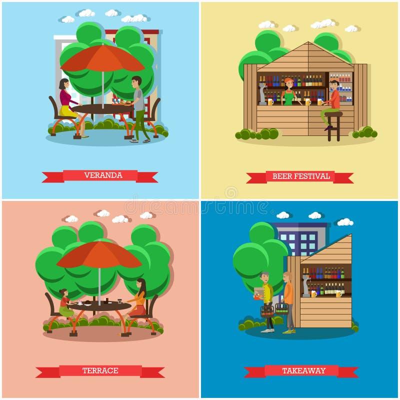 Straßenlebensmittelkonzept-Vektorposter Leuteverkauf von den Ställen Restaurantsommerterrasse unter Regenschirm lizenzfreie abbildung