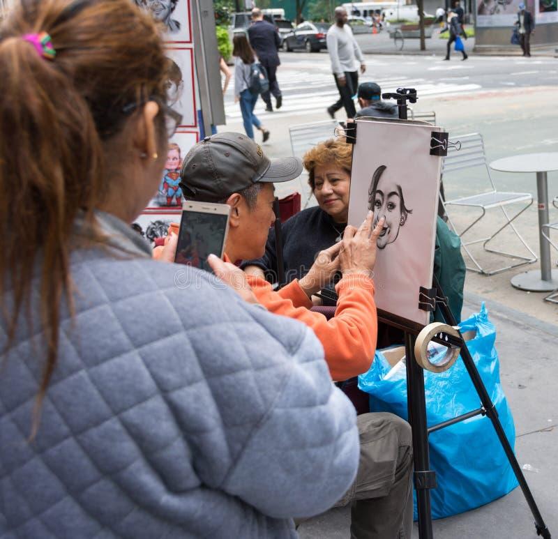 Straßenmalerei im Times Square lizenzfreie stockfotos