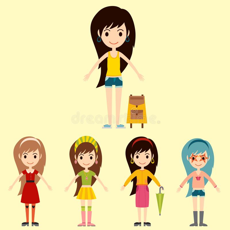 Straßenmode-Mädchenmodelle tragen moderne stilvolle Frau der Art vektor abbildung