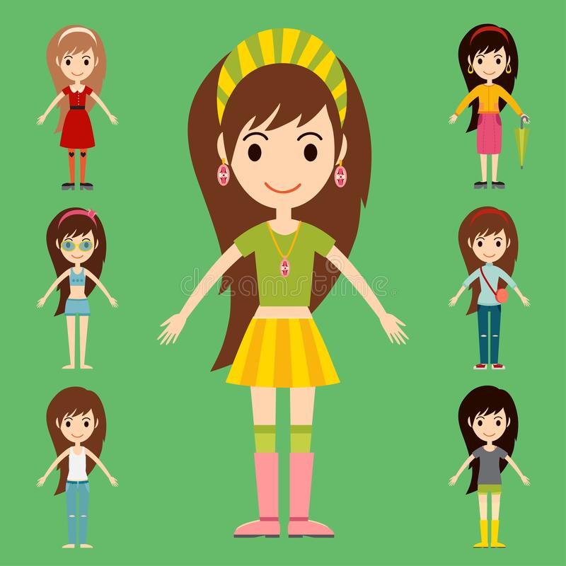 Straßenmode-Mädchenmodelle tragen moderne stilvolle Frauencharaktere der Art stock abbildung
