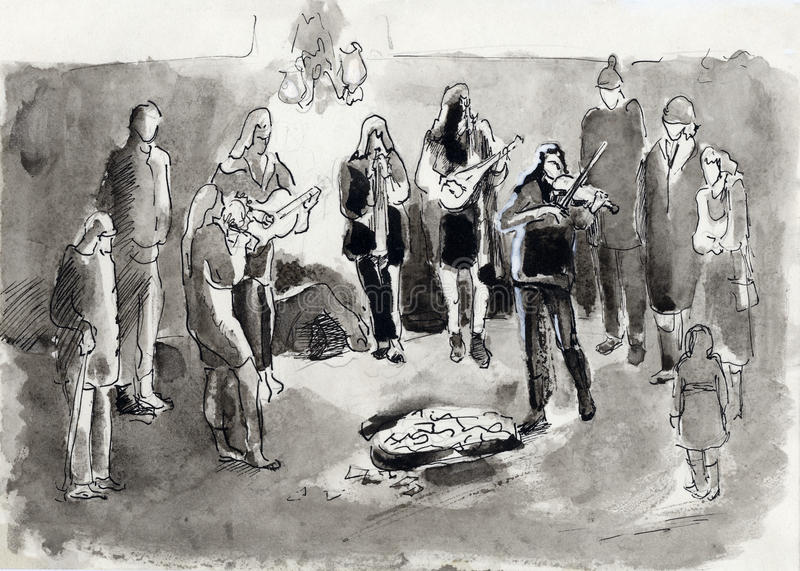 Straßenmusiker vektor abbildung