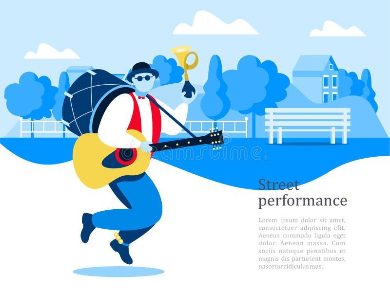 Straßenmusiker Mannband Straßenleistung Vektor illustrati vektor abbildung