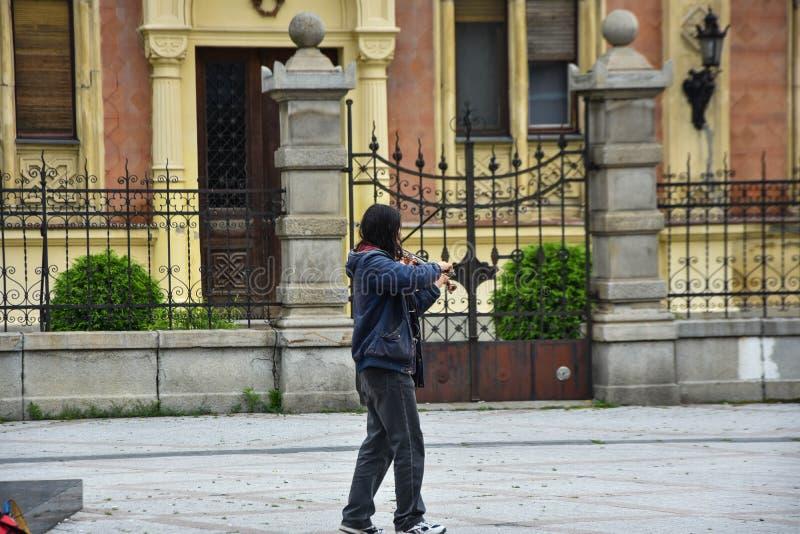 Straßenmusiker in Novi Sad M?nnlicher Musiker, der Violine spielt stockbild