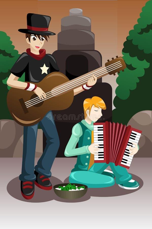 Straßenmusikerausführung stock abbildung