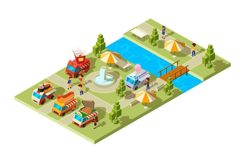 Straßennahrungsmittelpark Öffentlicher Ort mit den Lastwagenautos, die kalten Getränkvektor der verschiedenen Nahrungsmitteleiscr stock abbildung