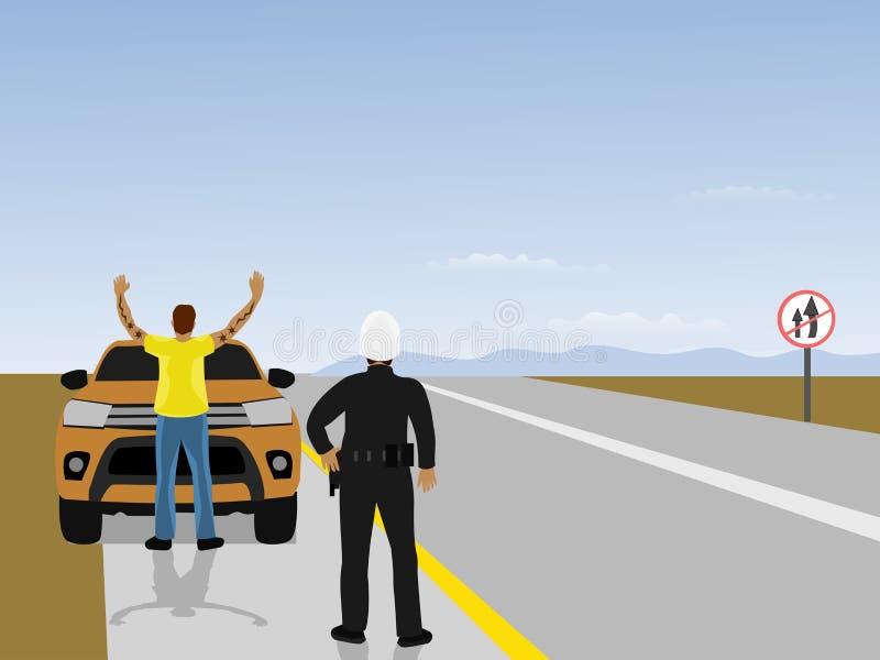 Straßenpatrouillen weisen Männer an, sich zurückzuhalten und vor Autos die Hände zu halten Mit blauem Himmel im Hintergrund stock abbildung