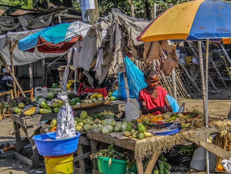 Straßenrandmarkt und -mädchen nahe ländlichem Robillard, Haiti lizenzfreies stockfoto