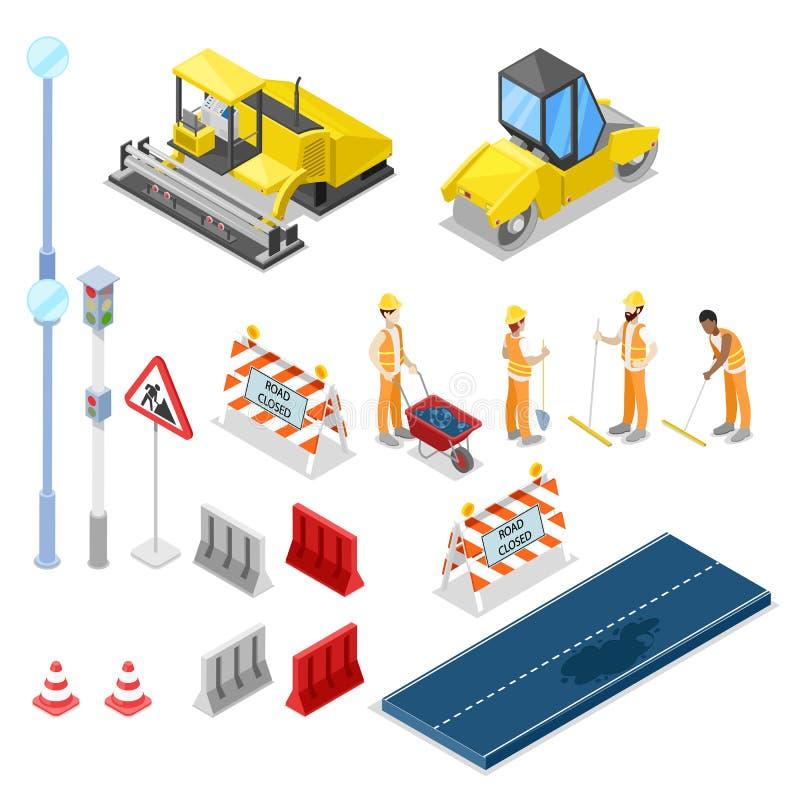 Straßenreparatur und Bau, isometrische lokalisierte Ikonen des Vektors 3D lizenzfreie abbildung