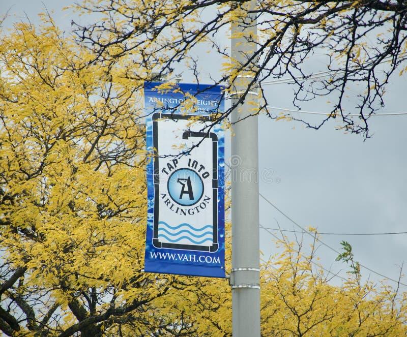 Straßenschild Arlingtons, Illinois stockbilder