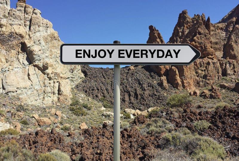 Straßenschild mit ENJOY JEDEN TAG Text unter Lavahintergrund lizenzfreies stockfoto