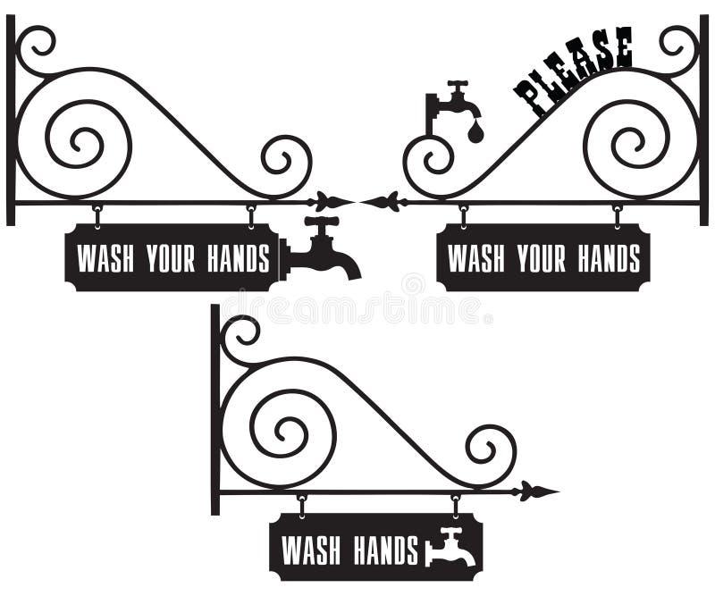 Straßenschild-Wäsche Ihre Hände vektor abbildung