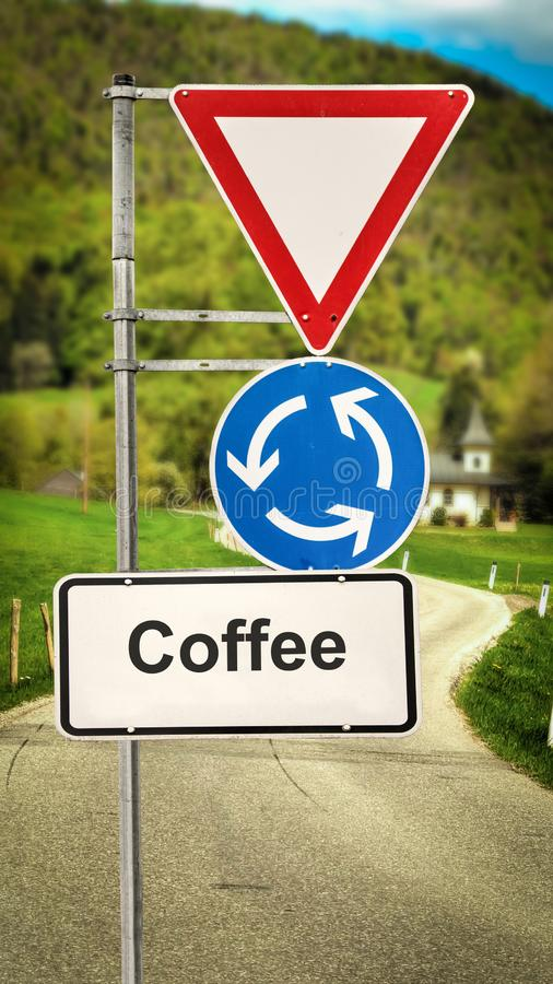 Stra?enschild zum Kaffee lizenzfreie abbildung