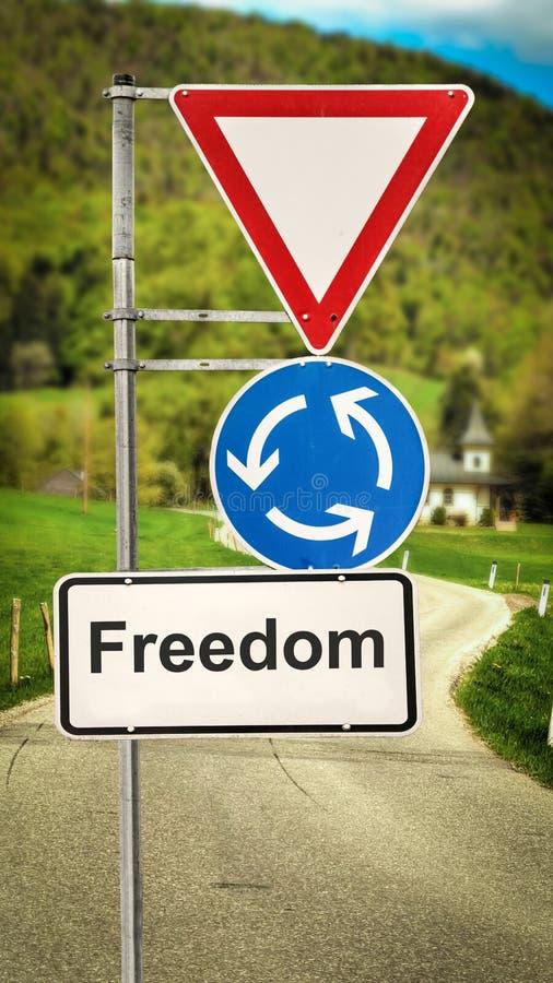 Straßenschild zur Freiheit stockbild