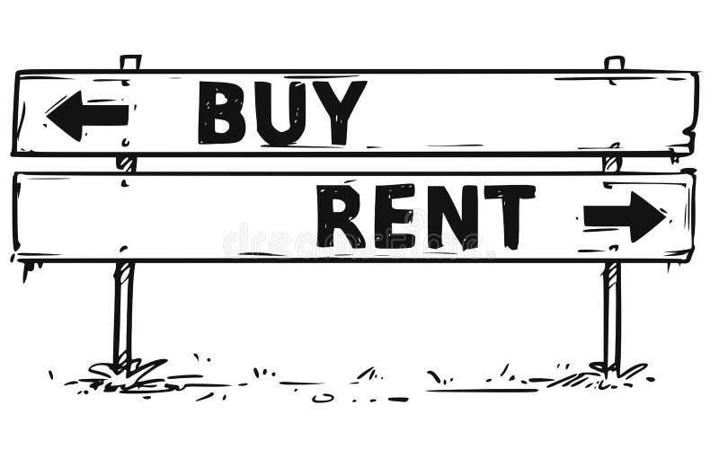 Straßensperre-Pfeil-Zeichen-Zeichnung des Kaufes oder der Miete lizenzfreie abbildung