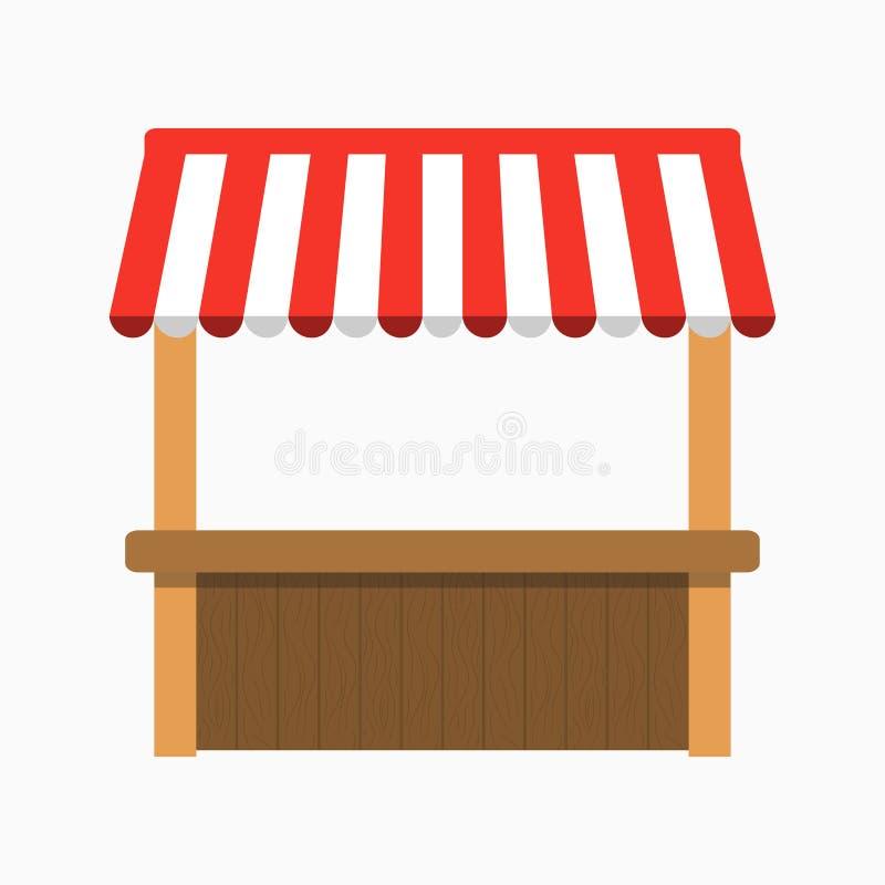 Straßenstall mit Markise Kiosk mit Holzregal Vektor stock abbildung