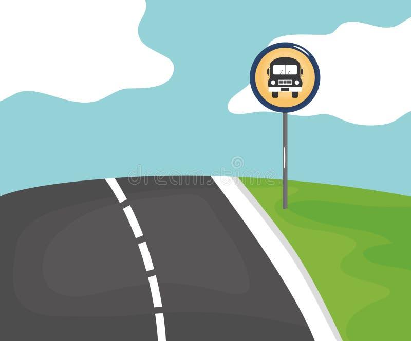 Straßenszene mit Endbussignal lizenzfreie abbildung