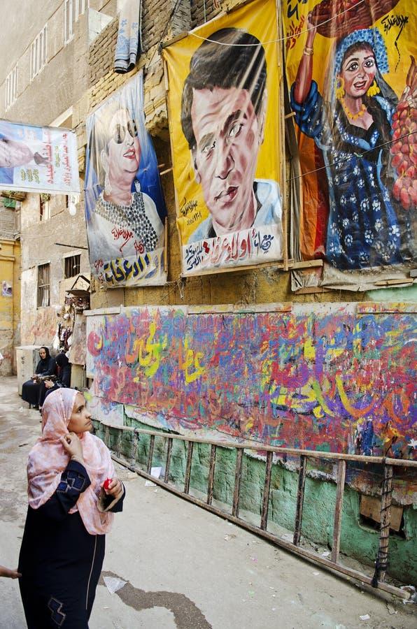 Straßenszene mit Künstlergeschäft in alter Stadt Ägypten Kairos lizenzfreies stockbild
