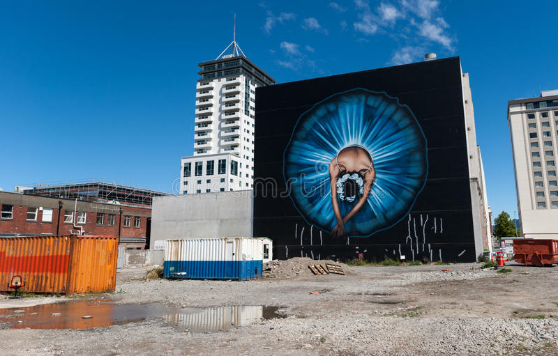 Straßenwandgemälde in Christchurch stockfotos