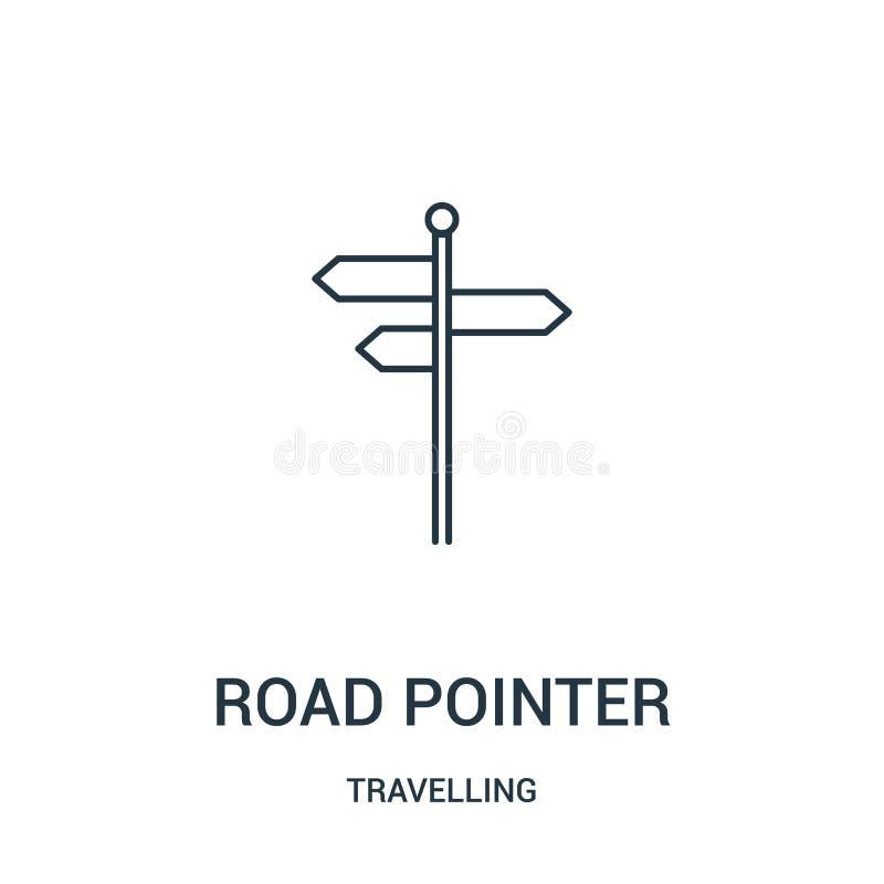 Straßenzeiger-Ikonenvektor von reisender Sammlung Dünne Linie Straßenzeigerentwurfsikonen-Vektorillustration Lineares Symbol vektor abbildung