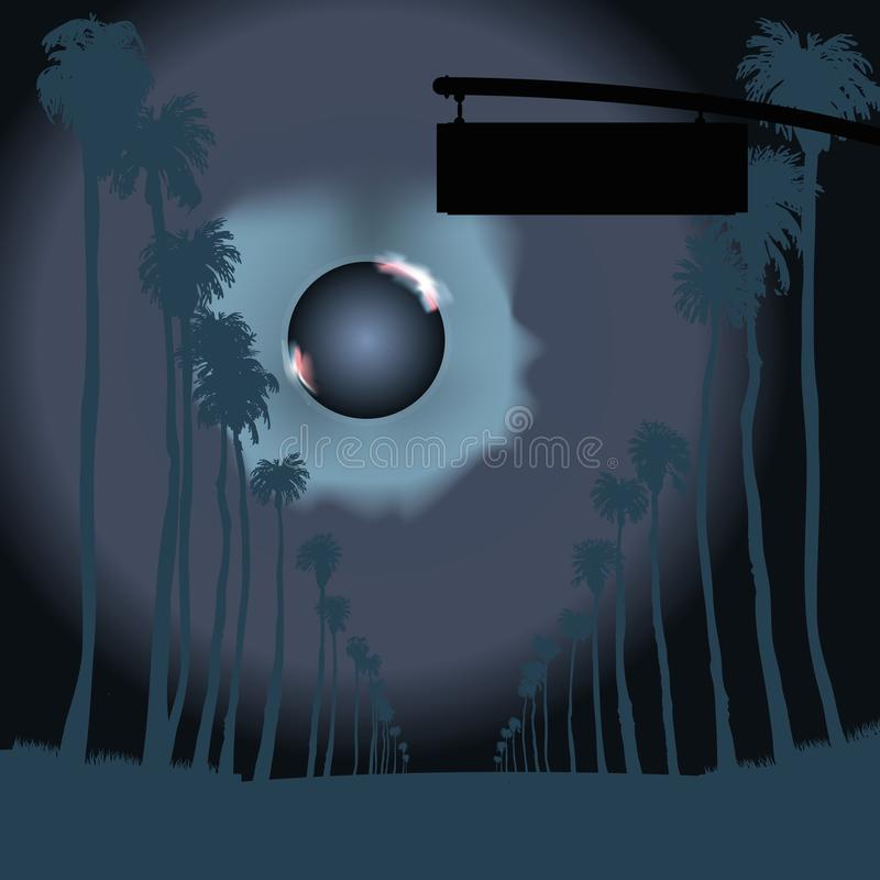 Road with tall palm trees in the night stock illustration