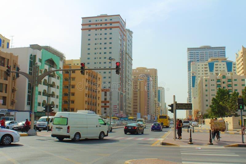 Straße von Scharjah, Arabische Emirate lizenzfreie stockfotografie