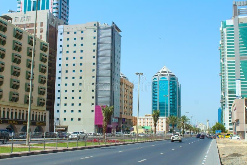 Straße von Scharjah, Arabische Emirate stockbild