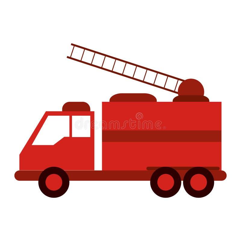 Strażak ciężarówka z kopyścią ilustracji