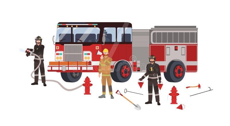 Strażacy lub palacze jest ubranym ochronnych ubrania, mundur, pożarniczy silnik lub pożarniczy wyposażenie, - pożarniczy hydrant ilustracji